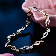 Eternity Gold Filled Swarovski Crystal Women Perfect Wedding Chain Bracelet