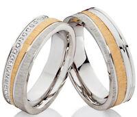 2 Trauringe Eheringe Hochzeitsringe Verlobungsringe mit Zirkonias Gravur P301