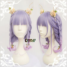 45CM Lolita Gradient Purple Ombre Medium Wavy Neat Bang Cute Sweet Cosplay Wig