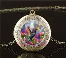 Vintage Hummingbird With Flower Cabochon Glass Brass Locket Pendant Necklace