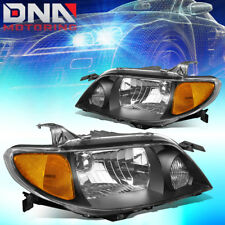 FOR 2001-2003 MAZDA PROTEGE BLACK HOUSING AMBER SIDE REPLACEMENT HEADLIGHT/LAMPS