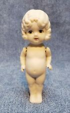 Antique Japan All Bisque Doll Molded Modeled Hair Painted Features 6 inches