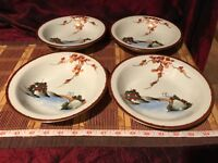 "4 Asian Porcelain Satsuma Shallow Soup / Salad Bowls 7 5/8""x1 1/2"" Marked"