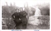 Vintage  Photo Girls posing at waterfall, Quebec Canada   mid century