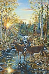 """River's Edge Products 24"""" x 16"""" LED Wall Art Whitetail Deer New"""