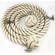 36mm Natural Wormed Cotton Bannister Handrail Rope x 1.5m c/w 4 Satin Fittings