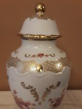 Large Wallendorf W 1764 Porcelain Vas w/ Lid White Gold & Pink Floral Ornament