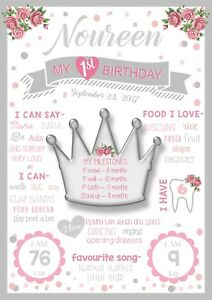 Princess Silver Crown Birthday Party Decoration Milestone Poster 1st chalkboard