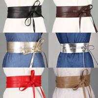Lady Women Wide Faux Leather Corset Waistband Dress Stretch Elastic Waist Belt