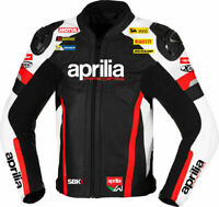 Aprilia Cowhide Leather Men Protective Armour Motorcycle Motorbike Riding Jacket