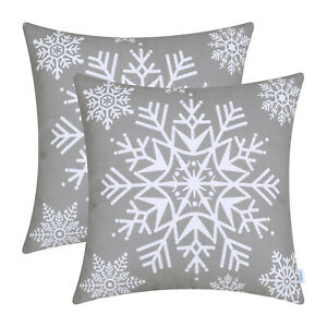 2Pcs Grey Throw Pillow Cases Covers Shells Bed Sofa Christmas Snowflakes 40x40cm