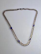 ⚜️ Collier aus 925er Silber mit Lapislazuli-Einlagen, L=45cm