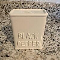 PEPPER SHAKER Halden Group Vtg Black Pepper Square White Ceramic Shaker