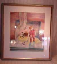 Vintage christmas watercolor/frame  24x26 3/4  artwoek 22 1/2 x 25 molding 1""