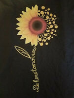 Be Here Tomorrow Sunflower Tshirt - Suicide Prevention Black Tee M