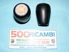FIAT 500 F/L/R 126 POMELLO LEVA CAMBIO IN PELLE NERO + LOGO ADESIVO 3D FIAT