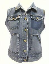 RALPH LAUREN Polo Jeans Co Denim Vest Distressed Blue Western Biker Womens M $89