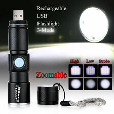 Mini CREE Q5 LED 1000 Lm USB Rechargeable Zoomable Focus Flashlight Torch New