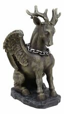 """Gothic Sitting Winged Pegasus Stag Horned Gargoyle in Stoic Pose Statue 6.25""""H"""