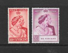 1948 KGVI Royal Silver WeddingSet SG162 & SG163 £1 Mauve Mint Hinged ST. VINCENT