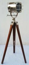 NAUTICAL HOME DECOR CHROME SPOT LIGHT SEARCHLIGHT STUDIO TRIPOD FLOOR LAMP