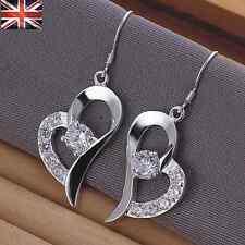 Mujer Plata Esterlina 925 Cristal cubic zirconia gota Pendiente de Forma de Corazón