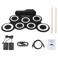 Digital Electronic Roll Up Drum Set Kit 7 Silicon Drum Pads USB Powered Y0H9