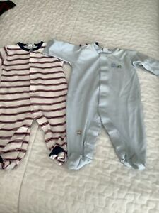 Kissy Kissy boys one pieces striped/ solid blue size 0-3 months