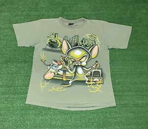 Vintage 1995 Pinky And The Brain Changes All Over Print T-Shirt Size XL