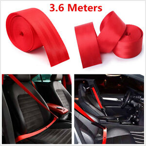3.6M Red Retractable Harness Racing Front 3 Point Safety Van Car Seat Lap Belt