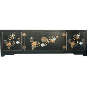 Chinese Black TV Stand Cabinet Entertainment Unit-Hand Painted Flower and Bird
