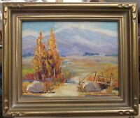 1940s Signed Vintage California Foothills Landscape Impressionist Painting