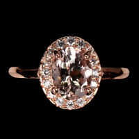 Unheated Oval Pink Morganite 8x6mm Cz Rose Gold Plate 925 Sterling Silver Ring 7