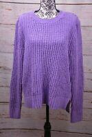 Maison Jules Women's  Purple Matte Chenille Sweater Long Sleeve Crew Neck X-L