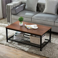 Modern Wood Rectangular Dining Coffee End Table with Shelf Living Room Furniture