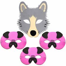 4 Foam Childrens Masks 3 Three Little Pigs & Wolf Story Masks by Blue Frog Toys