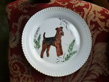 New ListingGorgeous Airedale Terrier Dog Plate Hand Painted by Sylvia Smith Fine Porcelain