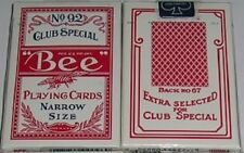 1 deck BEE 92 NARROW SIZE PLAYING CARD RED-S102N05-3