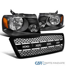 04-08 Ford F150 Pickup Black Headlights Head Lamps+ABS Raptor Style Hood Grille