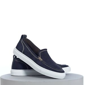 BRIONI 650$ Classic Slip-On Sneakers In Buttersoft Navy Blue Suede