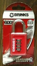 """Brinks 4 Dial Combo Padlock Red 1-1/8"""" New #165-50054 6.5""""X3.5""""X1 4;"""