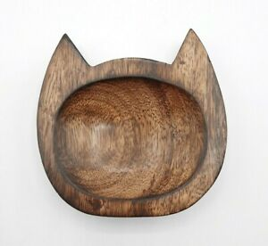 Serrv International Hand Made Wooden Cat Head Trinket Dish