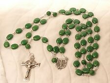 Sterling Silver Beautiful Carved Shamrock Rosary Bead Necklace