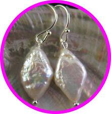 Silver AAA Charm WHITE Unique Diamond Shaped Pearl Earrings Australia Seller153