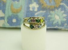 10K SOLID WHITE GOLD W/ Blue, Pink, & Green Stones MOTHER'S RING SIZE 8.5 G14-N