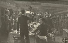 1890 Antique Print Navy Christmas Toast To Sweethearts