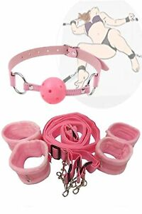 Pink Sex Bondage Slave Under the Bed Restraint System Handcuffs Mouth Ball Gag
