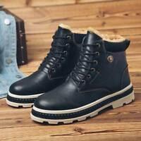 Winter Men's Leather Martin Boots Plus Velvet Outdoor Warm Shoes High Top Snow