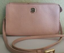 TORY BURCH Women 'Robinson' Pebbled Leather Crossbody Zip Wallet Handbag