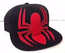 ULTIMATE SPIDERMAN SNAPBACK HAT Black&Red Big Spider Logo Flat Bill Men/Women